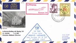 32918. Carta Aerea First Fligth, Erstflug, Primer Vuelo MILANO - Monaco 1967 - 6. 1946-.. Repubblica