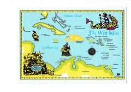 Cpm Amérique - West Indies - Carte Géographique Illustration Femme Monstre Sirène Bateau Voilier - Sainte-Lucie
