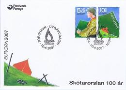 Faroe Islands; 2007.  Europa - CEPT; Scouting 100 Years. Set Of 2 On FDC. - Europa-CEPT