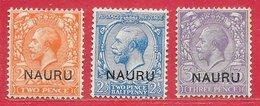 Nauru N°4 2p Orange, 5 2,5p Bleu, 6 3p Violet 1916-23 * - Nauru