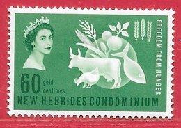 Nouvelles-Hébrides N°198 60c Vert 1963 * - Légende Anglaise