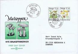 Norway 1987 Mushrooms;  Set Of 2 (pair) On FDC Sent To Denmark. - Champignons