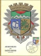 CP Maximaphilie 1er Jour Blason De La Ville Saint-Denis De La Réunion - Cartes-Maximum