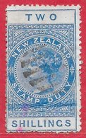 Nouvelle-Zélande Fiscaux-postaux N°5 2S Bleu 1882-1914 O - 1855-1907 Crown Colony