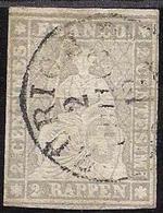 Schweiz Suisse 1862:III.Periode Faden Grün Fil Vert 2 RAPPEN Grau Zu 21 G Mi 19 Yv 25 O ZÜRICH 2.JUNI 63 (Zu CHF 700.00) - Oblitérés