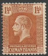 Cayman Islands. 1921-26 KGV. 1½d MH. Mult Script CA W/M SG 72 - Cayman Islands