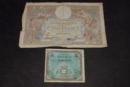 Lot 2 Billets 2 Francs 1944, 100 Francs 1938 - 1871-1952 Circulated During XXth