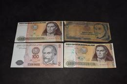 Lot 4 Billets 100 Intis 1987 2 X 500 Intis 1987 10 000 Soles De Oro 1981 - Pérou