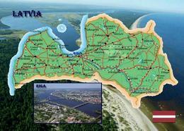 Latvia Country Map New Postcard Lettland Landkarte AK - Latvia