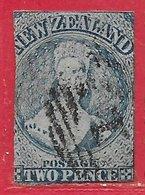 Nouvelle-Zélande N°3 2p Bleu (papier Bleui) 1855 O - 1855-1907 Colonie Britannique