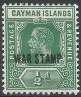 Cayman Islands. 1919-20 War Stamp. ½d MH. SG 57 - Cayman Islands