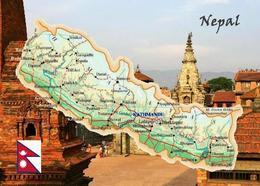 Nepal Country Map New Postcard Landkarte AK - Nepal