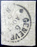 Schweiz Suisse 1862:III.Periode Faden Grün Fil Vert 2 RAPPEN Grau Zu 21 G Mi 19 Yv 25 O GENÉVE 6 AOUT 62 (Zu CHF 700.00) - Oblitérés