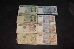Lot 8 Billets 4 X 1000 Lire, 2000 Lire, 2 X 5000 Lire  10 000 Lire - Italie