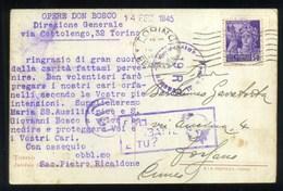 RSI REPUBBLICA SOCIALE - Cent. 50 Su Cartolina Interno Santuario Maria Ausiliatrice - Timbri Censura - Storia Postale