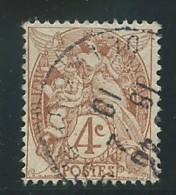 FRANCE: Obl., N° YT 110e, Brun-jaune, T.I, Point Dans Cartouche, TB - 1900-29 Blanc