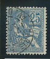 FRANCE: Obl., N° YT 114, T.I, Bleu, TB - 1900-02 Mouchon
