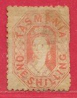 Tasmanie N°21B 1S Vermillon (dentelé 10) 1864-70 O - Used Stamps