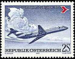 AUSTRIA 1973 - JUBILEO DE LA AVIACION CIVIL - YVERT 1242** - Airplanes