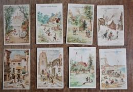 8 Cartons Publicitaires En Couleur CHOCOLAT GUERIN-BOUTRON : Scènes De Jeux D'enfants (toupie-corde-bouchon-échasses...) - Chocolate