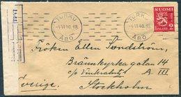 1940 Finland Turku Censor Cover - Sweden Stockholm - Finland