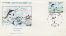 Enveloppe FDC  1er Jour   NOUVELLE   CALEDONIE    Poissons  Et   Mers   1979 - FDC
