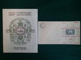 CANADA - 1949-1951 - Montréal EXUP Philatelic Exhibition Souvenir Sheet Centenaire - Errors, Freaks & Oddities (EFO)
