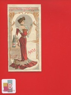 SOURCES SAINT LOUIS ST 1908 Demi Calendrier Illustrateur Femme Art Nouveau Verre Eau Bouteille - Petit Format : 1901-20