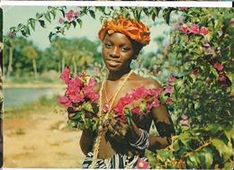 SIERRA LEONE Jeune Fille Aux Fleurs Plasmarine Pub Biomarine, Envoie 1959, Avec Timbre - Sierra Leone