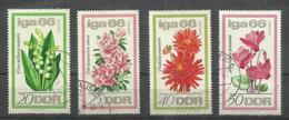 """DDR 1189-92 """"4 Briefmarken Mit Blumen Zur Iga 66, Satz Kpl."""" Gestempelt Mi.-Preis 7,00 - Plants"""