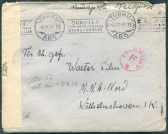 1942 Turku Kenttapostia Censor Cover + 2 Page Letter (written In German) Feldpost Marine Nachrichten Abteilung Nord - Finland