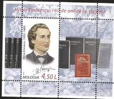 V) 2010 MOLDOVA, FAMOUS PEOPLE, MIHAI EMINESCU, 160 ANNIVERSARY OF NASTERE, MNH - Moldova