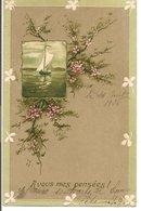 L120B387 -Branche De Fleurs Et Voilier Dans Un Cadre - A Vous Mes Pensées ! - Carte  Gauffrée - Fancy Cards