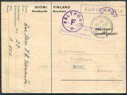 1940 Finland Kenttapostia Swedish Faltpost Censor Stationery Postcard - Sweden - Finland