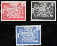 GREAT BRITAIN GB 1971 POSTAL STRIKE MAIL AZIM EXPRESS EMERGENCY MAIL SERVICE 2/6 SET BLUE RED BLACK NHM PRINCE CHARLES - Royalties, Royals