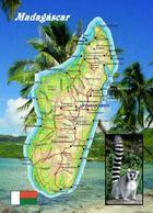 Madagascar Country Map New Postcard Madagaskar Landkarte AK - Madagaskar