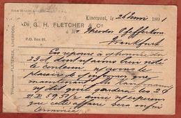 P 18 Koenigin Viktoria, Zudruck Fletcher Liverpool, Nach Frankfurt 1891 (74202) - Briefe U. Dokumente