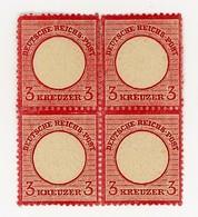 GERMANIA- IMPERO- QUARTINA AQUILA IN RILIEVO SCUDO GRANDE-3 KREUZER- Y&T 22  NUOVO **/*  (13/17) - Allemagne