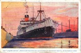 CPA COULEURS  BATEAUX -  UNE VUE SUR LE PAQUEBOT DENOMME JACQUES CARTIER - SERVICE DE FRET A PANAMA - Ships
