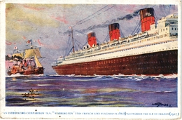 CPA COULEURS  BATEAUX -  SUR LA MEME VUE COMPARAISON ENTRE LE WASHINGTON  1864 ET L ILE DE FRANCE 1927 - Ships
