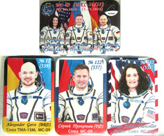 400-9 Space Russian Pins Set (5pcs). Spaceship Soyuz MS-09. ISS 56-57 Cancellor, Gerst (Germany) - Space