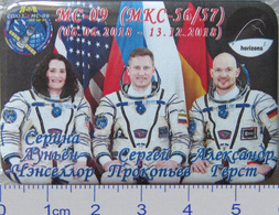 400-12 Space Russian Pin. Spaceship Soyuz MS-09. ISS 56-57 Cancellor, Gerst (Germany) - Space