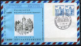 "Germany 1982 Privat Aerogramm Wasserschloß Mi.Nr.PP??? M.SST""Mespelbrunn-Erholungsort""1 Aerogramm Used - Schlösser U. Burgen"