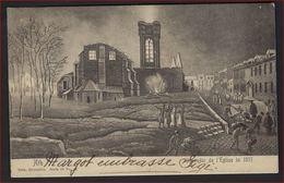 Postkaart Ath - Incendie De L ' Eglise En 1817 - Edit. Nels Série 78 N° 52 Met Zegel Nr. 58 ; Staat Zie 2 Scans ! - 1893-1900 Schmaler Bart