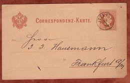 P 25 Kaiser Franz Joseph, Itzkany Nach Frankfurt 1878 (74207) - Enteros Postales