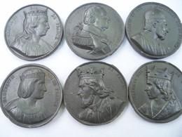 Lot De 6 Médailles  Roi De France En Graphite, Unifaces. - Royaux / De Noblesse