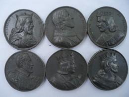 Lot No 2 De 6 Médailles  Roi De France En Graphite, Unifaces. - Royaux / De Noblesse