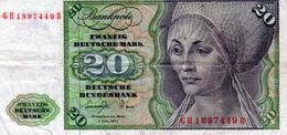 Billet De 20 Mark Du 1 Juin 1977 - - [ 7] 1949-… : RFA - Rep. Fed. Tedesca