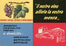 PUBBLICITA'_ADVERTISING_REKLAM-CARTOLINA-CANTINA SOCIALE ALTAVILLA MONFERRATO-Original 100% /AN3- - Advertising