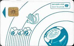 Iran - Iran Telecom - Blue Tulips & Dove, Chip Afnor Gem1B White/Gold, Cn. Chip Internal 552AC292, Used - Iran